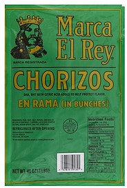 Trade In Value >> Marca El Rey Chorizos 48.0 oz Nutrition Information | ShopWell