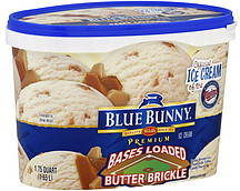 Blue Bunny Ice Cream Premium, Bases Loaded Butter Brickle 1.75 qt ...