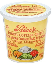 prices cottage cheese lowfat 1 5 milkfat 24 0 oz nutrition rh shopwell com how much is daisy cottage cheese how much is cottage cheese at aldis
